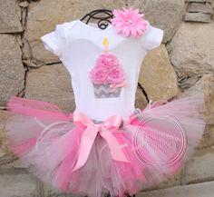 PINK GRAY CHEVRON Set--Birthday Girl Cupcake Onesie and Tutu Skirt Set with Free Flower Clip, Newborn,1st, 2nd, 3rd, 4th, 5th Birthday. $52.00, via Etsy.