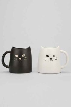 Black & White Cat Mug Set Measuring Cup, Crazy Cat Lady, Crazy Cats, Cat Face, Bacchus, Mug Chat, Cup Of Jo, Coffee Cups, Awesome Stuff