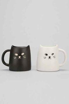 b/w cat mug set