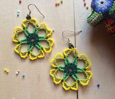 Mexican earrings flower handmade beaded by by ArtesaniaHUICHOL