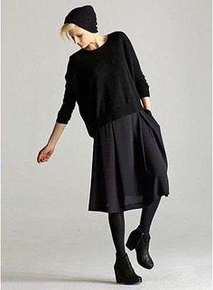 Mini gonna in lana e calze coprenti Eileen Fisher 75ac76319e76