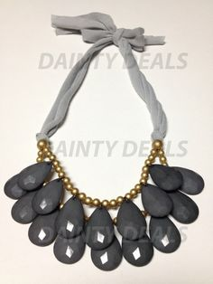 Slightly Imperfect Anthropologie Inspired Briolette Necklace - Grey on Etsy, $4.99