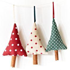 Country Christmas Tree Ornaments Rustic Polka