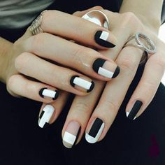Elegant Black And White Nail Art Designs You Need To Try; Elegant Black And White Nail Art Designs; Elegant Black And White Nail; Black And White Nail; Black And White Nail Art Designs; Minimalist Nails, Minimalist Makeup, Black Nail Designs, Nail Art Designs, Nails Design, Black And White Nail Art, Matte Black, Black Nails, Black Manicure