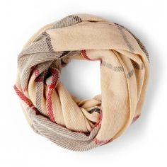 Women's Cream Acrylic Checkered Infinity Scarf by Sole Society