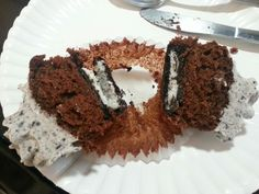 Oreo cupcakes inside look...yes that's an Oreo on the bottom