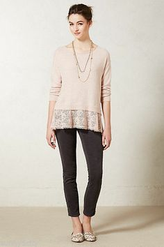 NEW Anthropologie Bloom Lace Pullover By Knitted & Knotted, Pearl color, Sz S-M #Anthropologie