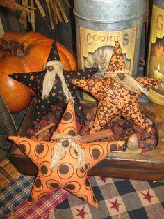 Primitive Halloween Ornies Set of 3 Stars / Spooky / Primitive Fall Tucks / Bowl fillers / ornament. $9.95, via Etsy.