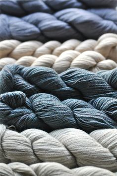 Lovely Gray & Blue colored yarn. The tone of this photo reminds me of looking out of a foggy window on a dreary morning:) I love it!