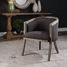 Uttermost Terrell Dark Flax Chenille Fabric Accent Chair