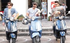 A trio of hot Italian guys on Vespa scooters