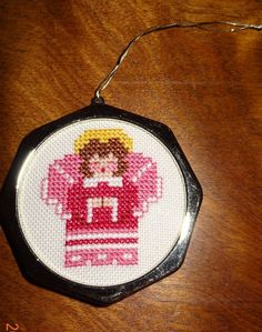 New Pink Angel Christmas Ornament Finished Cross Stitch Handcrafted Frame Girl