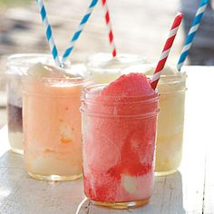 summertime ice cream floats - vanilla ice cream & fruit flavored soft drinks (grape, lime, orange...)