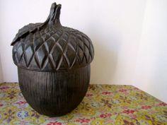 Large Vintage Pottery Acorn Cookie Jar Huge by VintageParamour, $48.00