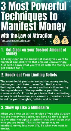Do you want to manifest more money into your life? Learn the three most powerful techniques to manifest money using the Law of Attraction. This works every single time. Now that you understand what the Law of Attraction really is and how it works, l Law Of Attraction Planner, Secret Law Of Attraction, Law Of Attraction Quotes, Power Of Attraction, Affirmations Positives, Wealth Affirmations, Affirmations For Money, Morning Affirmations, Manifestation Law Of Attraction