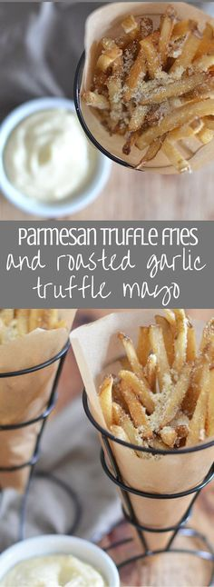 Parmesan Truffle Fries with Roasted Garlic Truffle Mayo You can have this bar food favorite at home with a few easy steps! This recipes uses frozen fries to cut down on prep time and is packed with the savory flavor of both truffle oil and truffle salt.