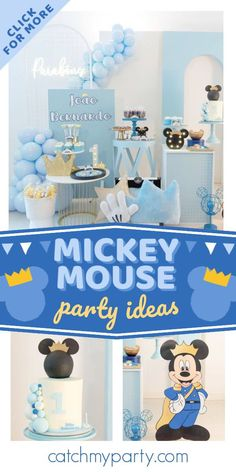 Check out this regal Mickey Mouse birthday party! The cake is fantastic! See more party ideas and share yours at CatchMyParty.com Mickey Mouse Cake, Mickey Mouse Parties, Mickey Party, Mickey Mouse Birthday, 1st Boy Birthday, Boy Birthday Parties, Minnie, Little Prince Party, Teddy Bear Party