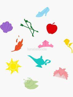 'Princess Symbol Pattern Variant' Sticker by lunalalonde Silhouettes Disney, Disney Symbols, Crucifix Tattoo, Arte Disney, Disney Mural, Tinkerbell Disney, Disney Princess Tattoo, Disney Princess Silhouette, Disney With A Toddler
