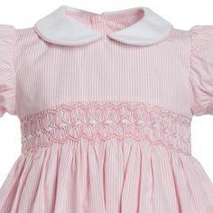 Girls Pink Smocked Cotton Dress - Dresses - Baby   Childrensalon