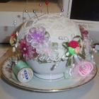 Cottage Chic  Vintage Tea Cup Pincushion