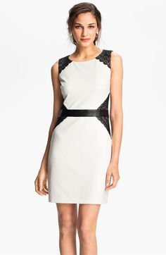 Laundry by Shelli Segal Lace Inset Ponte Sheath Dress | Nordstrom // contrasting colors provide shape