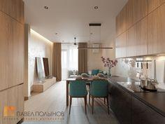 Фото: Дизайн интерьера кухни-гостиной - Интерьер однокомнатной квартиры в современном стиле, ЖК «Царская столица»