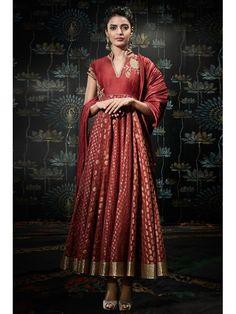 Shop Maroon Anarkali Poly Mettalic Suit Set by Rohit Bal online at Biba.in - CKD4943MRN
