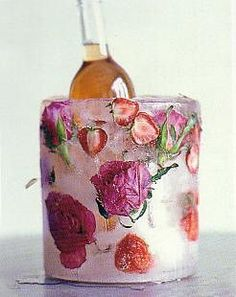 Frozen bottle cooler with flowers.