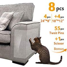 """Amazon.com : 8 Pcs Furniture Protectors from Cats, Cat Scratch Deterrent, Couch Protector 4 Pack X-Large (17""""L 12""""W) + 4 Pack Large (18""""L 9""""W) Cat Repellent for Furniture, Stop Pets from Scratching Furniture Couch : Pet Supplies Furniture Scratches, Couch Furniture, Leather Furniture, Maruchan Ramen, Couch Protector, Cat Scratcher, Vinyl Sheets, Cool Cats, Pet Supplies"""