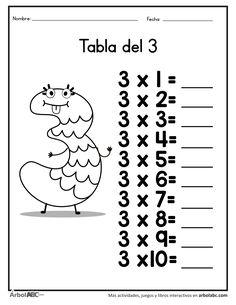 Practica la tabla del 3 | Árbol ABC English Worksheets For Kindergarten, 3rd Grade Math Worksheets, Hindi Worksheets, Homeschool Worksheets, Multiplication Worksheets, Multiplication Tables, Math For Kids, Activities For Kids, Body Name