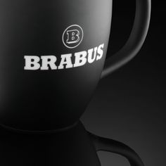 Modern coffee cup featuring the BRABUS logo in matte black