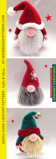 The Original Santa Gonk Crochet Pattern. A cute home decoration for the festive season. A Christmas ornament crochet pattern to be used time and again. The base Gonk for A Gonk's Journey, the epic tale of Adam Gonk's adventures with many Free dress up outfits.