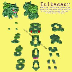 Bulbasaur Pokemon free 3D perler beads Hama Beads pattern tutorial