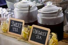 Very cute idea for a beverage table and also for labeling food for a buffet.
