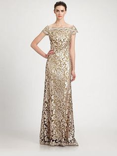 shopstyle.com: Tadashi Shoji Off-The-Shoulder Sequined Lace Gown
