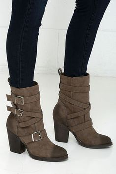 Madden Girl Kloo Stone Buckled Mid-Calf Boots at Lulus.com!
