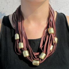 Beaded Scarf Necklace Brown now featured on Fab.