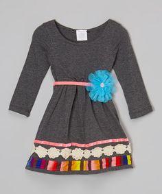 Charcoal & Pink Lace Flower Dress - Toddler #zulily #zulilyfinds