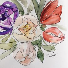 A 5 minute sketch of some tulips. Weve got some really beautiful ones out in the garden at the moment . #tulips #lineart #watercolor #flowers #floral #springishere Art Diary, Spring Is Here, Beautiful One, Watercolor Flowers, Line Art, Twine, Tulips, In This Moment, Journal Art
