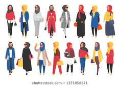 Find Hijab Muslim Woman Set Modern People stock images in HD and millions of other royalty-free stock photos, illustrations and vectors in the Shutterstock collection. Fashion Vector, Anime Muslim, Character Design References, Summer Outfits Women, Photo Illustration, Illustrations, Muslim Women, Free Vector Art, Character Design Inspiration