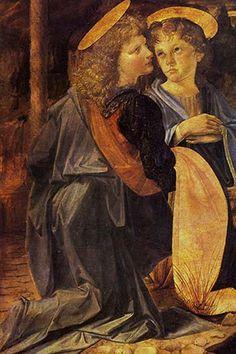 Christ's Baptism, detail, by Leonardo da Vinci