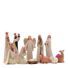 """Wood Nativity Set - from BrandAlley;  set of eleven figures;  tallest figure is almost 8"""""""