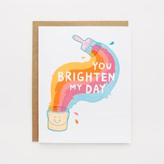 Neon You Brighten My Day Letterpress Card by luckyhorsepress