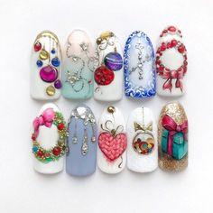 Christmas Nail Designs - My Cool Nail Designs Nail Art Noel, Xmas Nail Art, Cute Christmas Nails, Holiday Nail Art, Xmas Nails, Funky Nails, Cute Nails, Christmas Nail Art Designs, Diy Nail Designs