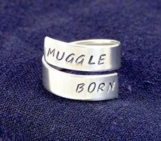 Muggle Born - Harry Potter - Adjustable Aluminum Wrap Ring on Etsy, $10.00
