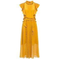 Marissa Webb - Florence Silk Ruffle Midi Dress (7.748.700 IDR) ❤ liked on Polyvore featuring dresses, mid calf dresses, midi dress, flounce dress, flutter-sleeve dress and yellow dress