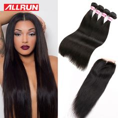 Malaysian Virgin Hair With Closure 3/4 7A Unprocessed Virgin Human Hair bundles With Closure Malaysian Straight Hair Bundles