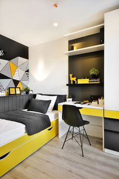 Konforsit Edu.Suites Boys Dormitory - Picture gallery - Konforsit Edu. Boys Room Design, Bedroom Bed Design, Small Room Design, Boys Bedroom Decor, Small Room Bedroom, Trendy Bedroom, Modern Bedroom, Home Office Design, Home Interior Design