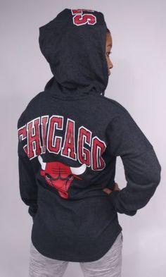 Chicago-Bulls-Women-039-s-Light-Hoodie-Curved-Hem-NBA