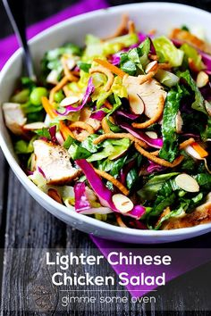 Gorgeous, crunchy, healthy --> Lighter Chinese Chicken Salad via Gimme Some Oven #fresh #takeout